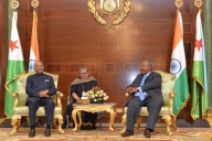 Djibouti: President Ram Nath Kovind and Djibouti President Ismail Omar Guelleh during delegation level talks at Presidential Palace in Djibouti on Oct 4, 2017. (Photo: IANS/RB)