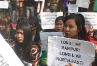 Manipur women vendors on strike protesting against Citizenship Bill
