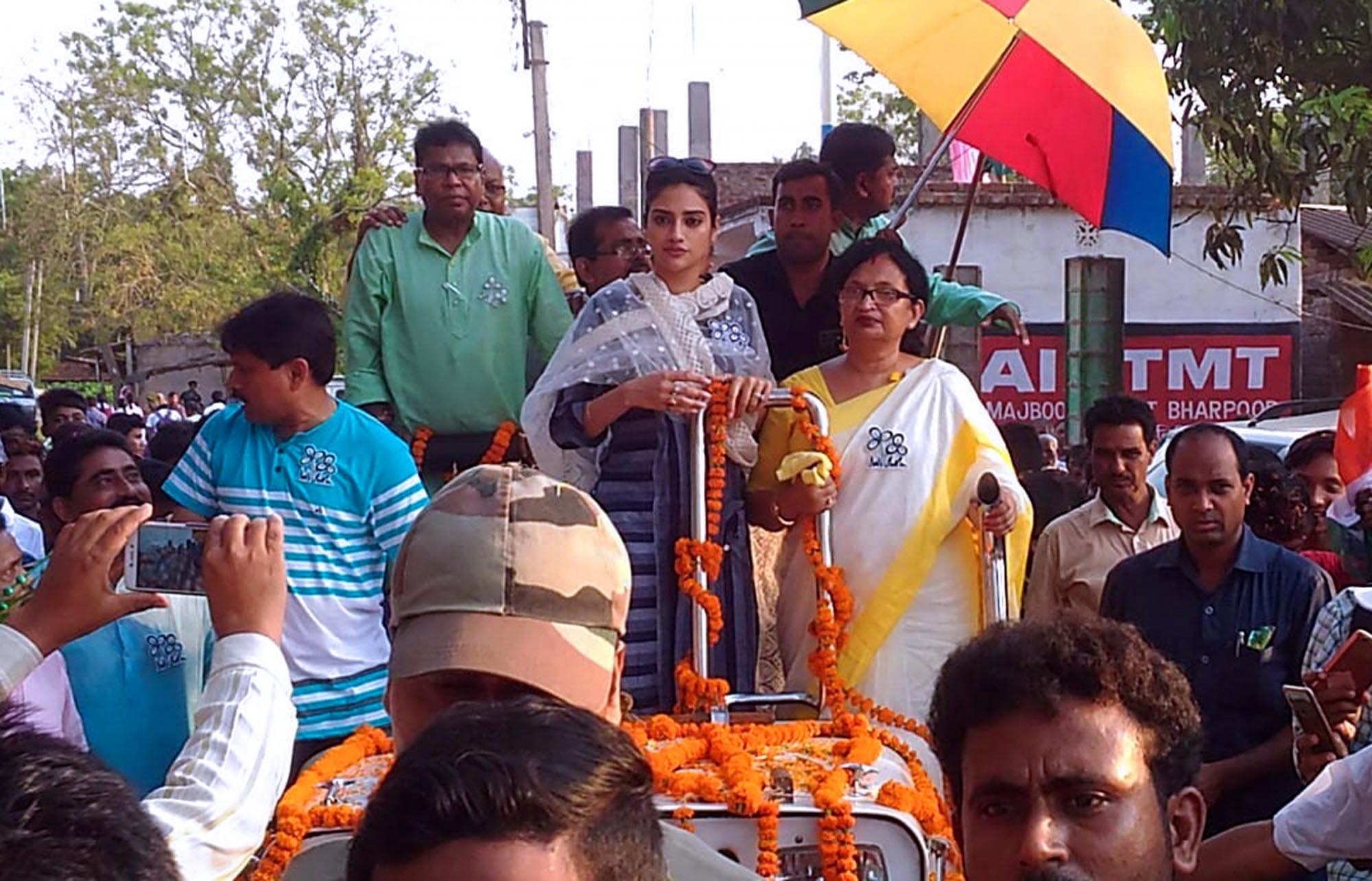 Medinipur: TMC's candidate from Basirhat constituency, Nusrat Jahan during an election campaign for the forthcoming Lok Sabha polls at Sabra village in Paschim Medinipur district, West Bengal, on April 25, 2019. (Photo: IANS)